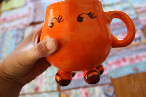 funny orange mug