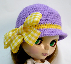 Purple Hat with Big Yellow Checkered Bow for Blythe