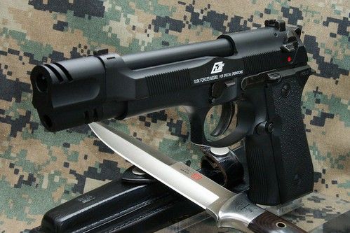 modified KSC Beretta Elite pistol, with an Al Mar knife