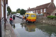 Bosham - Ice Cream Van on flooded road