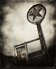 texaco (bob merco) Tags: sign sepia rural photoshop grunge layers nik texaco abandonment textured supermerc81 bobmerco niksilverefexpro lonesomelizardfilms bobmercogliano lonesomelizard
