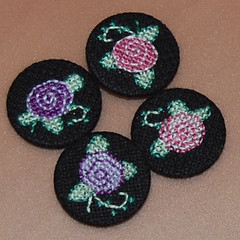 flowers2 (anonymityblaize) Tags: crossstitch badge button