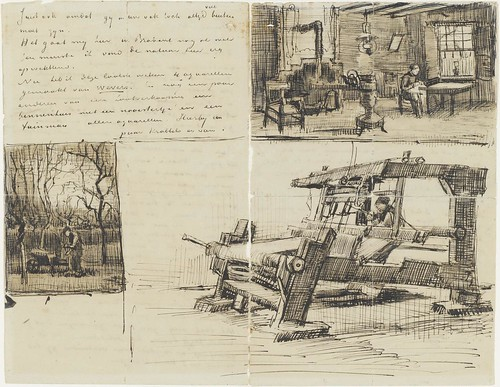 Gardener with a wheelbarrow AND Interior with a woman sewing AND Weaver - January 1884 (421)