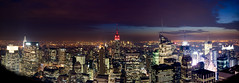 New York Skyline at night [Explored!] (nilsn93) Tags: panorama newyork skyline night photoshop nikon manhattan rockefellercenter adobe gebuilding d40 afsdxzoomnikkor1855mmf3556gedii adobelightroom2 nilsn93