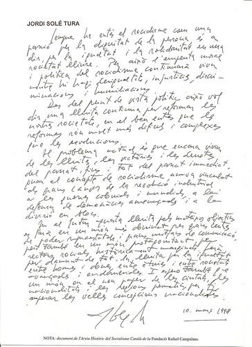 Escrit Jordi Solé Tura 10-03-1998