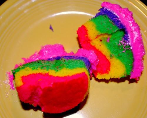 Center of rainbow cupcakes