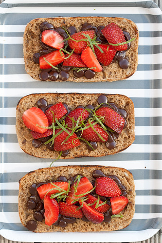 Strawberry and chcoolate on rye bread toast