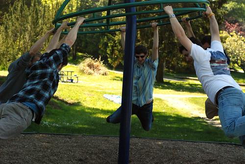 boys on swing