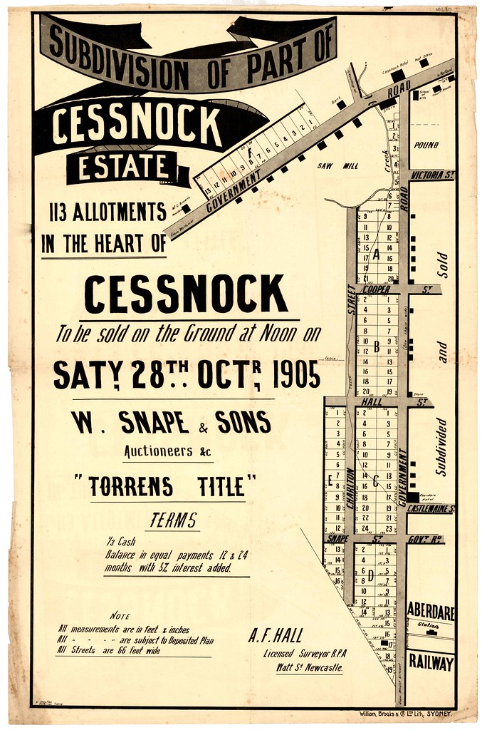 M1630 - Subdivision of part of Cessnock Estate, Cessnock. Saturday 28 October, 1905.
