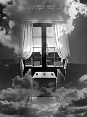 Inside Out (Vincent_AF) Tags: sky art clouds table photography photo chair foto fotografie view graphic image air curtain vincent dream olympus photographs photograph sit layer layers af symbolic blend flickrphoto flickrimage true2bw flickrphotography afphotography archetypefotografie fourthirts