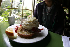 Stuffed French Toast (kozyndan) Tags: california breakfast inn bigsur strawberries whippedcream frenchtoast bedandbreakfast quaint deetjensbigsurinn