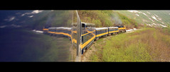 parting company ;-) (LieselRose) Tags: panorama reflection alaska train landscape scenery rail wideangle alaskarailroad coastalexpress flickrchallengegroup flickrchallengewinner reflectionontrain