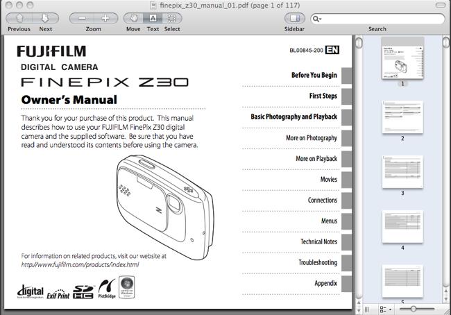 Fuji FinePix Z30 Manual