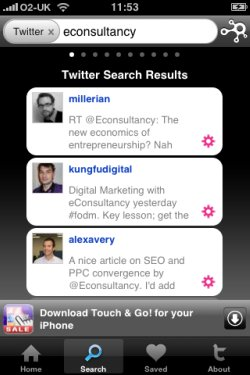 Taptu Twitter search