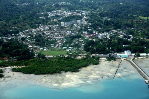 aerial of the town of Mkoani