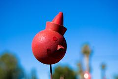 Jack in the COMMUNIST PARTY (dogwelder) Tags: california red sky smile clown july jackinthebox spraypaint zurbulon6 artcar 2009 antennaball shermanoaks zurbulon