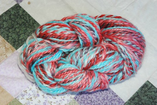 2ply milk fibre dyed with Koolaid