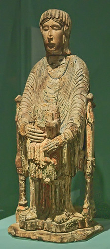"Wood sculpture, ""Enthroned Virgin and Child"", French, 12th century, at the Saint Louis Art Museum, in Saint Louis, Missouri, USA"