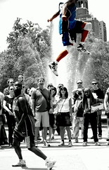 Walking On Air (Photography of Bryan Correira) Tags: park new york city nyc woman white man black color men guy walking fun flying george washington twins women village brothers manhattan air greenwich watching guys acrobats selective on