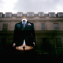 The Gentleman (Society Works) Tags: sky building london film shirt tie hasselblad suit handkerchief savilerow