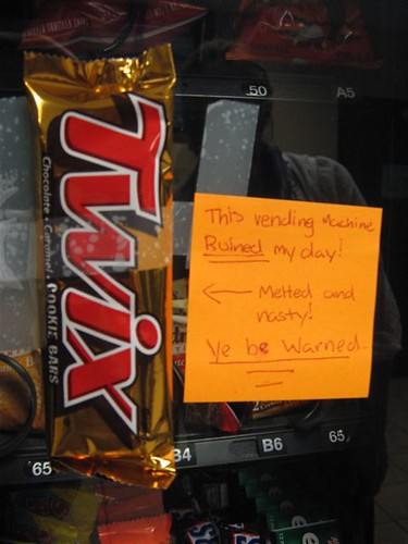 This vending machine RUINED my day!  Melting and nasty! Ye be warned.