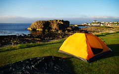 Findochty campsite (Gregor  Samsa) Tags: sunset sea sky scotland place harbour shore caravan campsite findochty