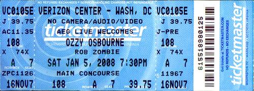 20080105 - Ozzy Osbourne & Rob Zombie ticket stub