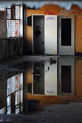 (akiruna) Tags: door reflection abandoned window lines puddle floor akiruna annemiehiele annemiehielenl