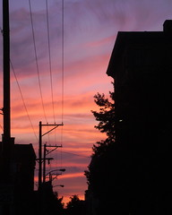 power lines (moocatmoocat) Tags: sunset sky philadelphia colors lines silhouette electric power