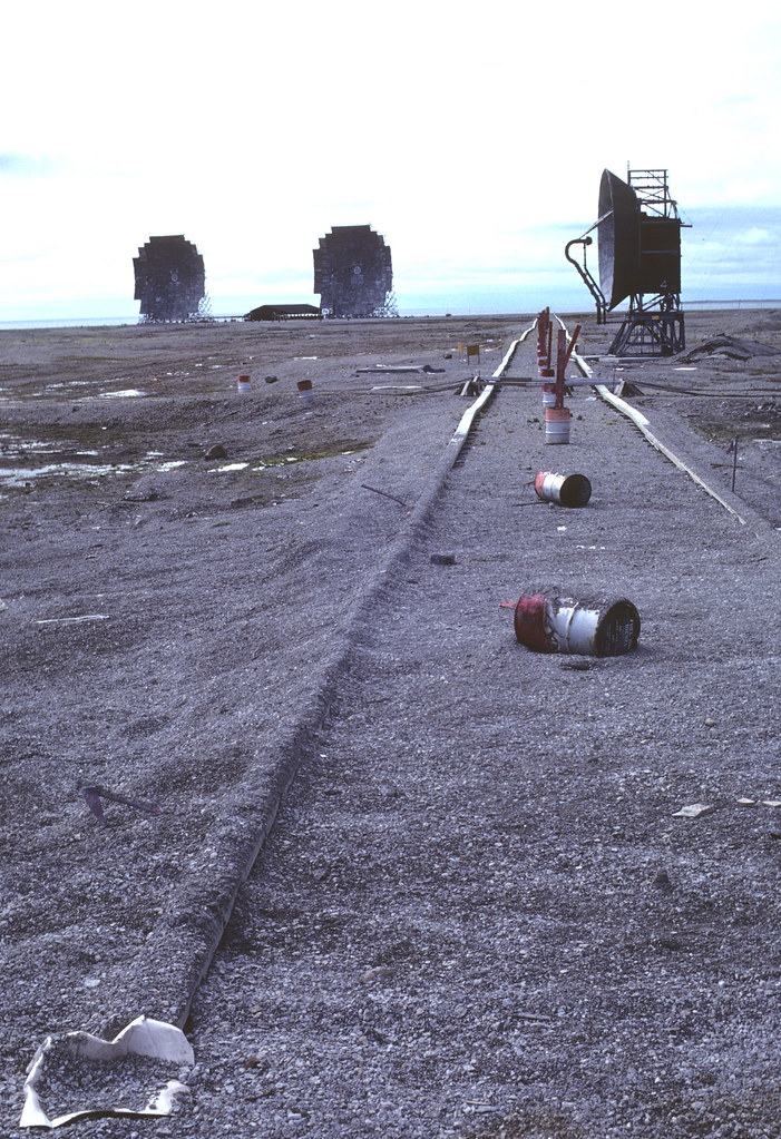 Communications radar equipment at Fox-Main Dew Line Station, Hall Beach, Nunavut in 1979