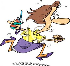 0511-0809-1914-3828_Woman_Eating_on_the_Run_clipart_image