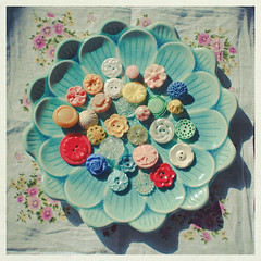 (_cassia_) Tags: flowers vintage shadows dish lotus buttons dramatic multicoloured plate plastic handkerchief