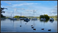 LAKE WINDERMERE, LAKE DISTRICT, ENGLAND (IMAGES OF WALES.... (TIMWOOD)) Tags: trees england lake mountains reflections evening boat early yacht district sony ducks september hills cumbria alpha pleasure lakewindermere a700