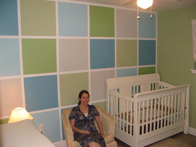 blue green square grey nursery crib
