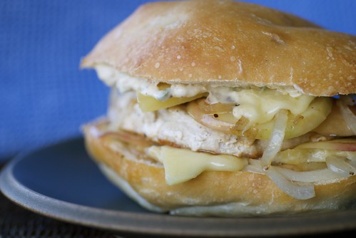 turkey burger with apples, Gruyere, and sage mayo
