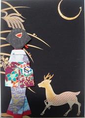 ATC49 - Geisha with golden deer (tengds) Tags: black atc night crescent geisha papercraft japanesepaper washi ningyo handmadedoll handmadecard chiyogami yuzenwashi japanesepaperdoll goldendeer origamidoll tengds