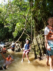 Lizzy swinging in the vines in Khao Sok jungle