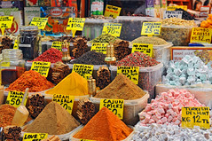 Spice market, Istanbul (Tambako the Jaguar) Tags: food beautiful turkey nikon colorful market trkiye istanbul spices bazaar istambul prices d300