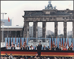 President Reagan Giving a Speech at the Berlin...