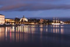 Skeppsholmen By Night (or Evening...) (Hannes R) Tags: city bridge light reflection water night reflections lights mirror boat town ship sweden stockholm skeppsholmen afchapman skeppsholmsbron