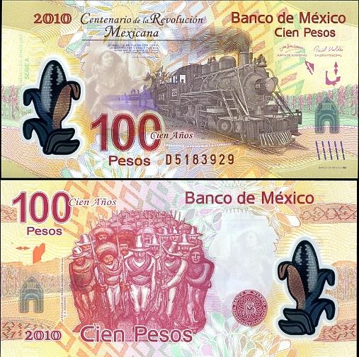 100 Pesos Mexiko 2007, polymer - pamätná