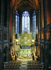 Liverpool's Anglican Cathedral : The Lady Chapel (The Old Brit) Tags: windows architecture liverpool interior gothic churches cathedrals arches stainedglass altar tiles archways anglican lightshade merseyside liverpoolcathedral capitalofculture ladychapel