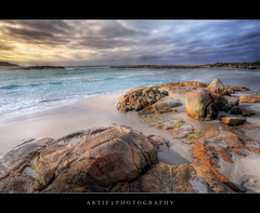 Madfish Bay, William Bay National Park, Denmark, Western Australia :: HDR (Artie | Photography :: I'm a lazy boy :)) Tags: sunset sea seascape green water photoshop canon denmark bay landscapes sand rocks tripod wave australia wideangle perth ef 1740mm westernaustralia hdr artie cs3 3xp f4l photomatix algaes madfish tonemapping tonemap williambay williambaynationalpark madfishbay 5dmarkii 5dm2