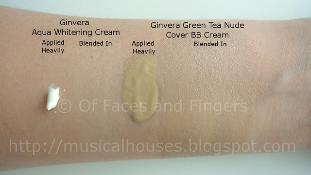 ginvera aqua whitening bb cream swatch