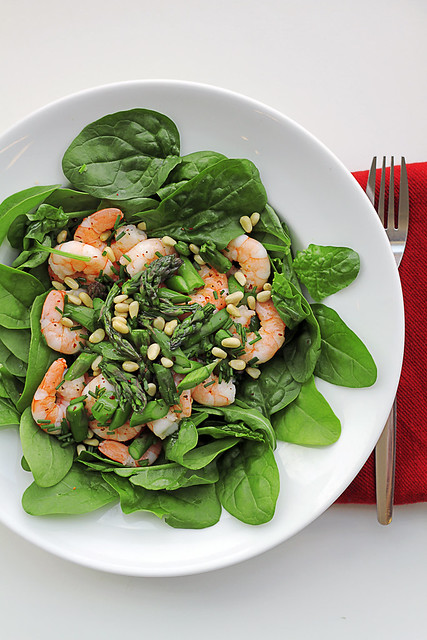 Prawns, Asparagus and Spinach
