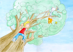 Freddie Climbing to rescue Bessie Bell (thingsinjars) Tags: tree illustration pencil painting children paint drawing illustrated fairy watercolour freddie childrensbook waterstones picturethis bessiebell