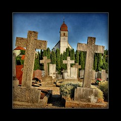 loving (Abra K.) Tags: france texture church graveyard loving quote crosses graves antoinedesaintexupry hdr sloping
