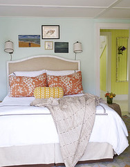 Summery aqua blue bedroom: Neutrals + bright colors + 'Lido Green' by Benjamin Moore (SarahKaron) Tags: orange house inspiration home print island design bedroom aqua pattern graphic linen interior textile nantucket decorating decor beachy blueroom housebeautiful bluepaint neutral summery upholsteredheadboard bluebedroom johnrobshaw