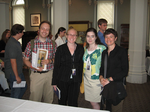 Libraries interns (from L-R) Brett Lambert, Maggie Ansell, Mary Jinglewski and Karen Brown enjoy the reception