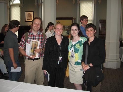 Libraries interns (from L-R) Brett Lambert, Maggie Ansell, Mary Jinglewski and Karen Brown enjoy the reception